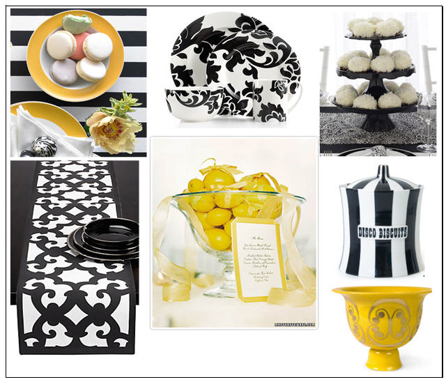 Setting a Table: Black, White and Yellow – There\'s No Place Like Home