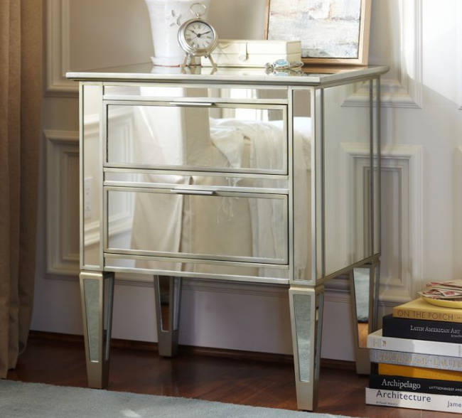 pottery barn mirrored night stand