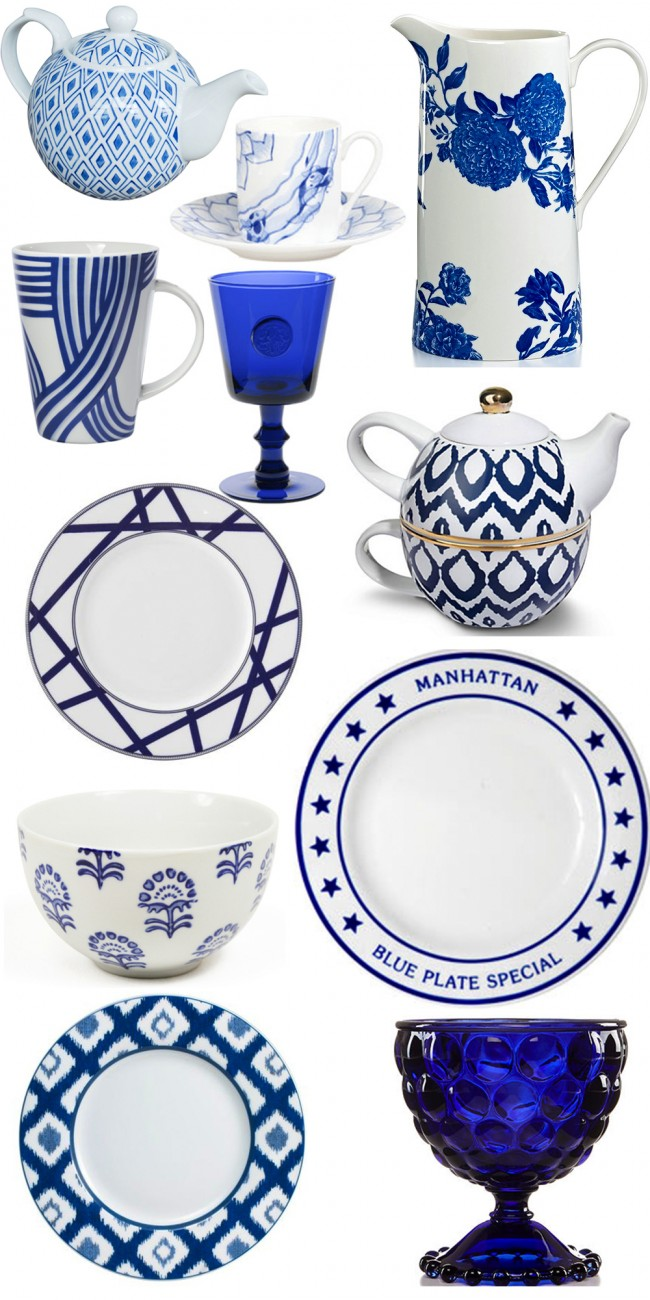 navy and white dish roundup
