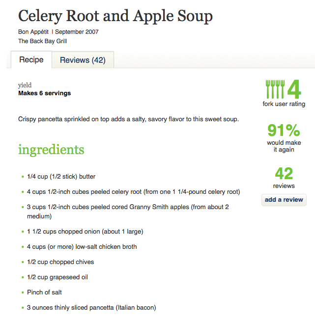 Epicurous Celery Root and Apple Soup
