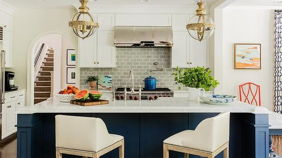 White Kitchen Navy Island 3