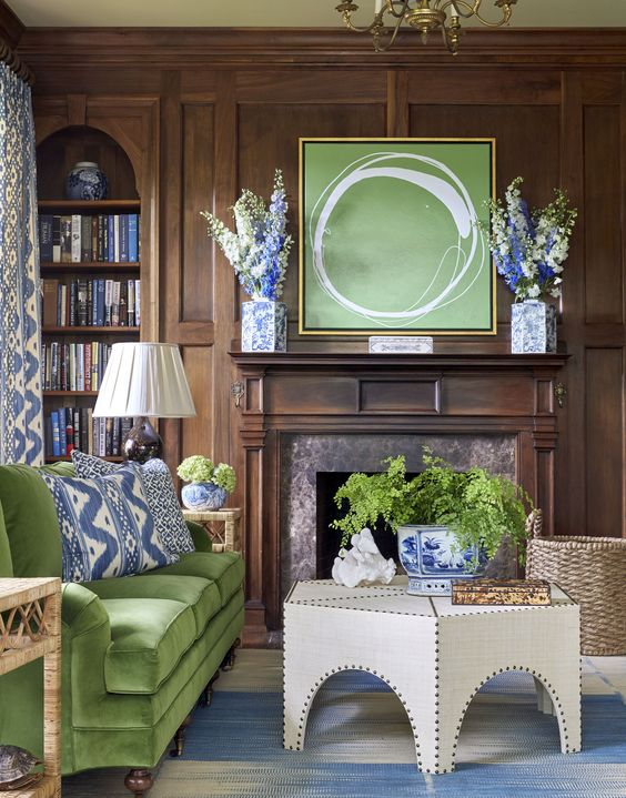 SARAH BARTHLOMEW Designs Blue and Green Living Room